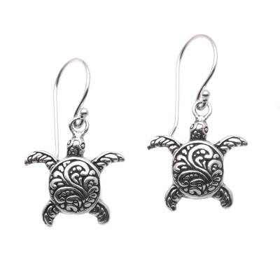 Sterling silver dangle earrings, 'Baby Turtles' - Sterling Silver Sea Turtle Dangle Earrings from Bali