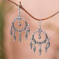 Sterling silver chandelier earrings, 'Dream Catcher Rain' - Swirl Pattern Sterling Silver Chandelier Earrings from Bali