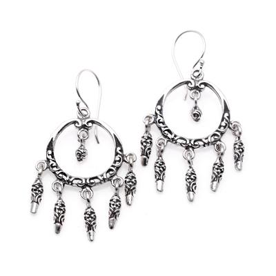 Sterling silver chandelier earrings, 'Dream Catcher Rain' - Swirl Pattern Sterling Silver Chandelier Earrings from Bali