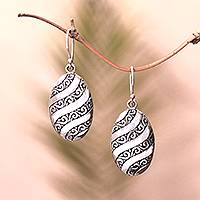 Sterling silver dangle earrings, 'Oval Wave' - Wave and Swirl Pattern Sterling Silver Dangle Earrings