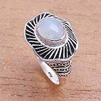Moonstone cocktail ring, 'Cloud Spokes'