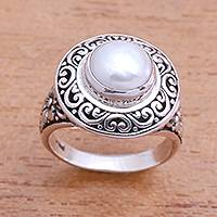 Cultured pearl cocktail ring, 'Precious Swirls' - Swirl Pattern Cultured Pearl Cocktail Ring from Bali