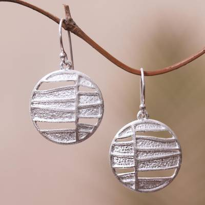 Sterling silver dangle earrings, 'Intriguing Circles' - Modern Circular Sterling Silver Dangle Earrings from Bali
