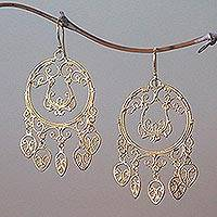 Gold plated sterling silver chandelier earrings, 'Queen of the Morning' - Gold Plated Sterling Silver Chandelier Earrings from Bali