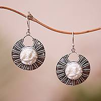 Sterling silver and bone dangle earrings, 'Ganesha Shield' - Ganesha-Themed Sterling Silver and Bone Dangle Earrings