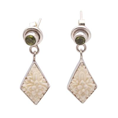 Floral Bone and Peridot Dangle Earrings from Java