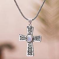 Moonstone pendant necklace, 'Mesmerizing Faith' - Moonstone Cross Pendant Necklace from Bali