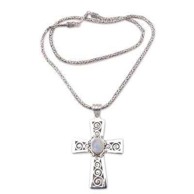 Moonstone pendant necklace, 'Mesmerizing Faith' - Moonstone Cross Pendant Necklace from Bali