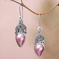 Cultured pearl dangle earrings, 'Ripe Fruit' - Floral Pink Cultured Pearl Dangle Earrings from Bali