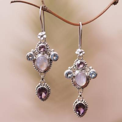 Multi-gemstone dangle earrings, 'Charming Light' - Floral Multi-Gemstone Dangle Earrings Crafted in Bali