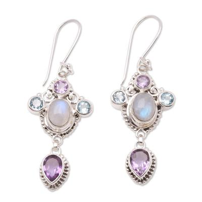 Multi-gemstone dangle earrings, 'Charming Light' - Floral Multi-Gemstone Dangle Earrings Crafted in Bali