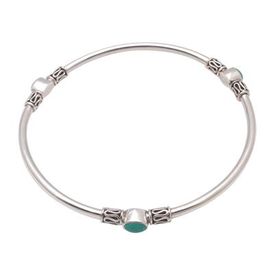 Turquoise bangle bracelet, 'Harmony of Three' - Natural Turquoise Bangle Bracelet from Bali