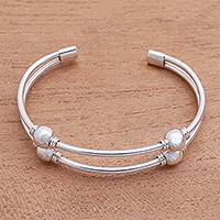 Sterling silver cuff bracelet, 'Bauble Twins'