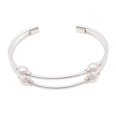Sterling silver cuff bracelet, 'Bauble Twins' - High-Polish Sterling Silver Cuff Bracelet with Baubles