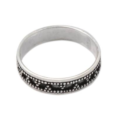 Triangle Pattern Sterling Silver Band Ring from Bali