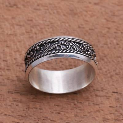Sterling silver band ring, Lassoed Vines