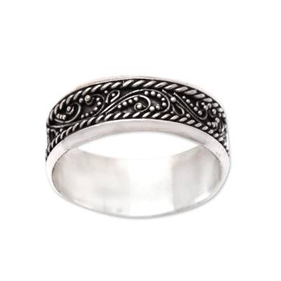 Vine Pattern Sterling Silver Band Ring from Bali