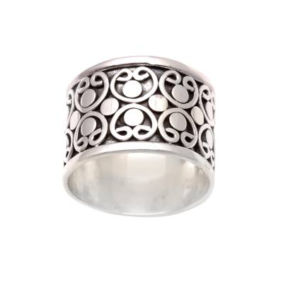 Circle Pattern Sterling Silver Band Ring from Bali