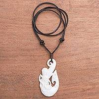 Bone pendant necklace, 'Intricate Octopus' - Octopus-Themed Bone Pendant Necklace from Bali