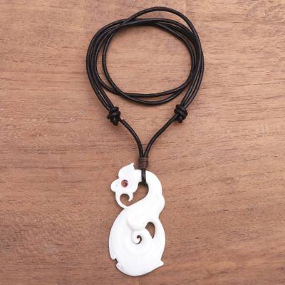 Bone and garnet pendant necklace, Swirling Glory