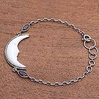 Garnet and bone pendant bracelet, 'Happy Crescent' - Crescent Moon Garnet and Bone Pendant Bracelet