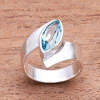 Blue topaz cocktail ring, 'Marquise Ocean' - Marquise Blue Topaz Cocktail Ring from Bali