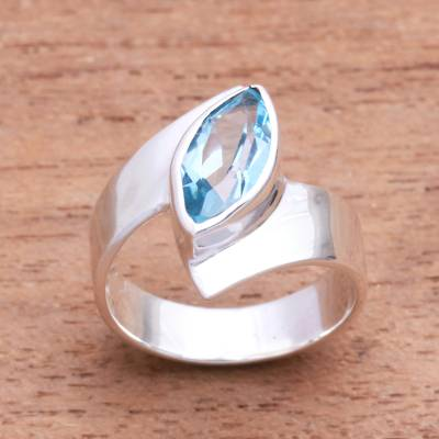 Blue topaz cocktail ring, Marquise Ocean