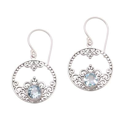 Swirl and Dot Pattern Blue Topaz Dangle Earrings from Bali