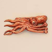 Wood wall sculpture, 'Octopus of the Deep' - Jempinis Wood Octopus Wall Sculpture from Bali
