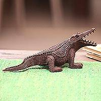 Wood sculpture, 'Fierce Crocodile' - Hand-Carved Suar Wood Crocodile Sculpture from Bali