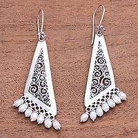 Cultured pearl chandelier earrings, 'Swirling Triangles' - Swirl Pattern Cultured Pearl Chandelier Earrings from Bali