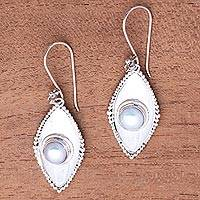 Cultured pearl dangle earrings, 'Moonlight Shields'
