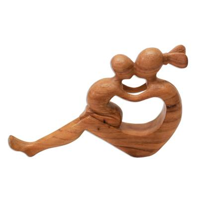 Wood sculpture, 'Her Love Will Never Fade' - Natural Suar Wood Mother and child Sculpture from Bali