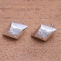 Sterling silver button earrings, 'Hammered Diamonds' - Diamond-Shaped Sterling Silver Button Earrings from Bali