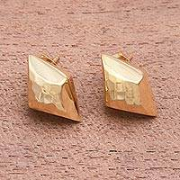 Gold plated sterling silver button earrings, 'Hammered Diamonds' - Diamond-Shaped Gold Plated Sterling Silver Button Earrings