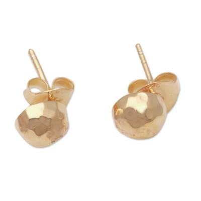 Gold plated sterling silver stud earrings, 'Hammered Domes' - Domed Gold Plated Sterling Silver Stud Earrings from Bali