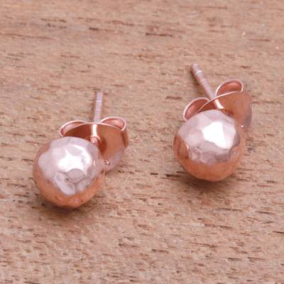 Rose gold plated sterling silver stud earrings, 'Hammered Domes' - Domed Rose Gold Plated Sterling Silver Stud Earrings