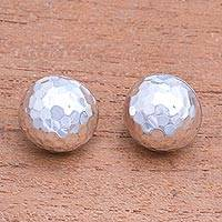 Sterling silver button earrings, 'Hammered Domes' - Domed Sterling Silver Button Earrings from Bali