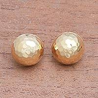 Gold plated sterling silver button earrings, 'Hammered Domes' - Domed Gold Plated Sterling Silver Button Earrings from Bali