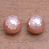 Rose gold plated sterling silver button earrings, 'Hammered Domes' - Domed Rose Gold Plated Sterling Silver Button Earrings