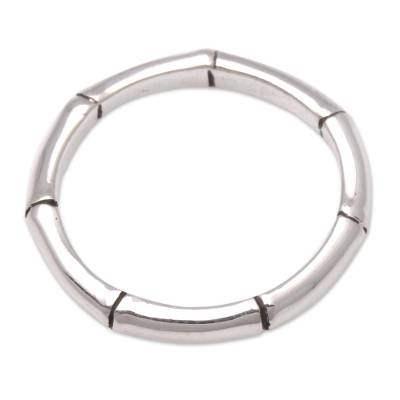 Sterling silver band ring, 'Bamboo Regeneration' - Handcrafted Bamboo Motif Sterling Silver Band Ring