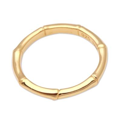 Gold plated sterling silver band ring, 'Bamboo Regeneration' - Bamboo Motif Silver Band Ring Bathed in 18k Gold