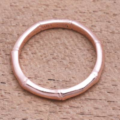 Rose gold plated sterling silver band ring, 'Bamboo Regeneration' - Bamboo Motif Silver Band Ring Bathed in 18k Rose Gold