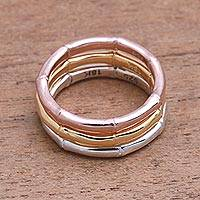 Gold plated sterling silver band rings, 'Bamboo Trio' (set of 3)