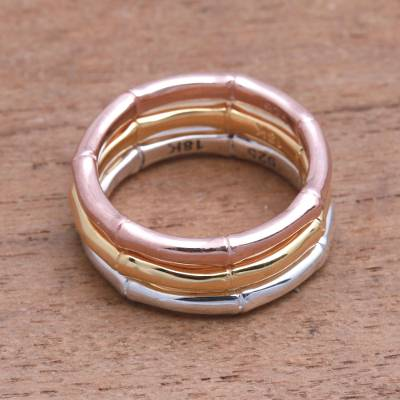 Gold plated sterling silver band rings, Bamboo Trio (set of 3)