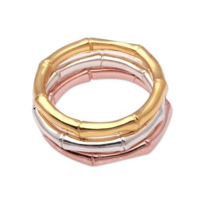 Gold plated sterling silver band rings, 'Bamboo Trio' (set of 3) - 3 Bamboo Motif Rings in Silver, Gold and Rose Gold