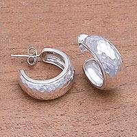 Sterling silver half-hoop earrings, 'Radiant Shine' - Balinese Sterling Silver Half-Hoop Earrings