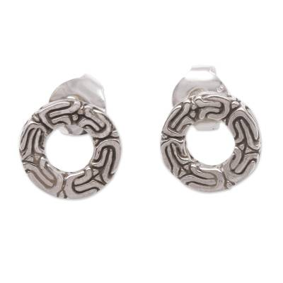 Sterling silver stud earrings, 'Round Borobudur' - Circular Patterned Sterling Silver Stud Earrings from Bali