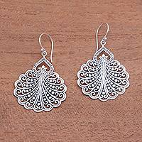 Sterling silver dangle earrings, 'Peacock's Tail' - Fan Pattern Sterling Silver Dangle Earrings from Bali