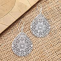 Sterling silver dangle earrings, 'Glorious Teardrops' - Drop-Shaped Sterling Silver Dangle Earrings from Bali
